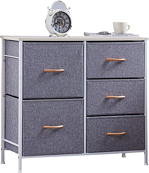 ALLZONE Cotton Storage Tower with 5 Drawers, Dressers for Bedroom, Storage  Tower Unit for Nursery, Closets, Hallway,Entryway