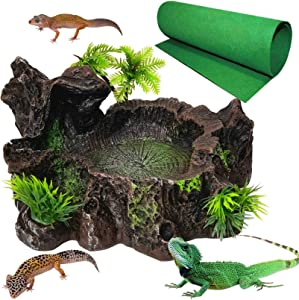 kathson Resin Reptile Platform Reptile Tank Decor Artificial Tree Trunk Food Water Dish Bowl Lizards Carpet Mat Substrate Liner Bedding for Bearded Dragon Lizard Gecko Water Frog Snake 2PCS