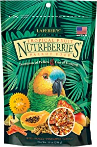 LAFEBER'S Tropical Fruit Nutri-Berries Pet Bird Food, Made with Non-GMO and Human-Grade Ingredients, for Parrots, 10 oz