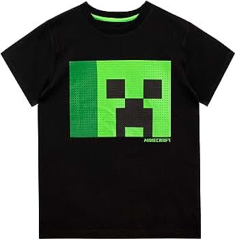 Ropa Ni/ño Algodon 100/% Minecraft Camiseta Ni/ño Regalos para Ni/ños y Adolescentes Edad 5-14 A/ños Camisetas con Personaje Creeper En Color Negro
