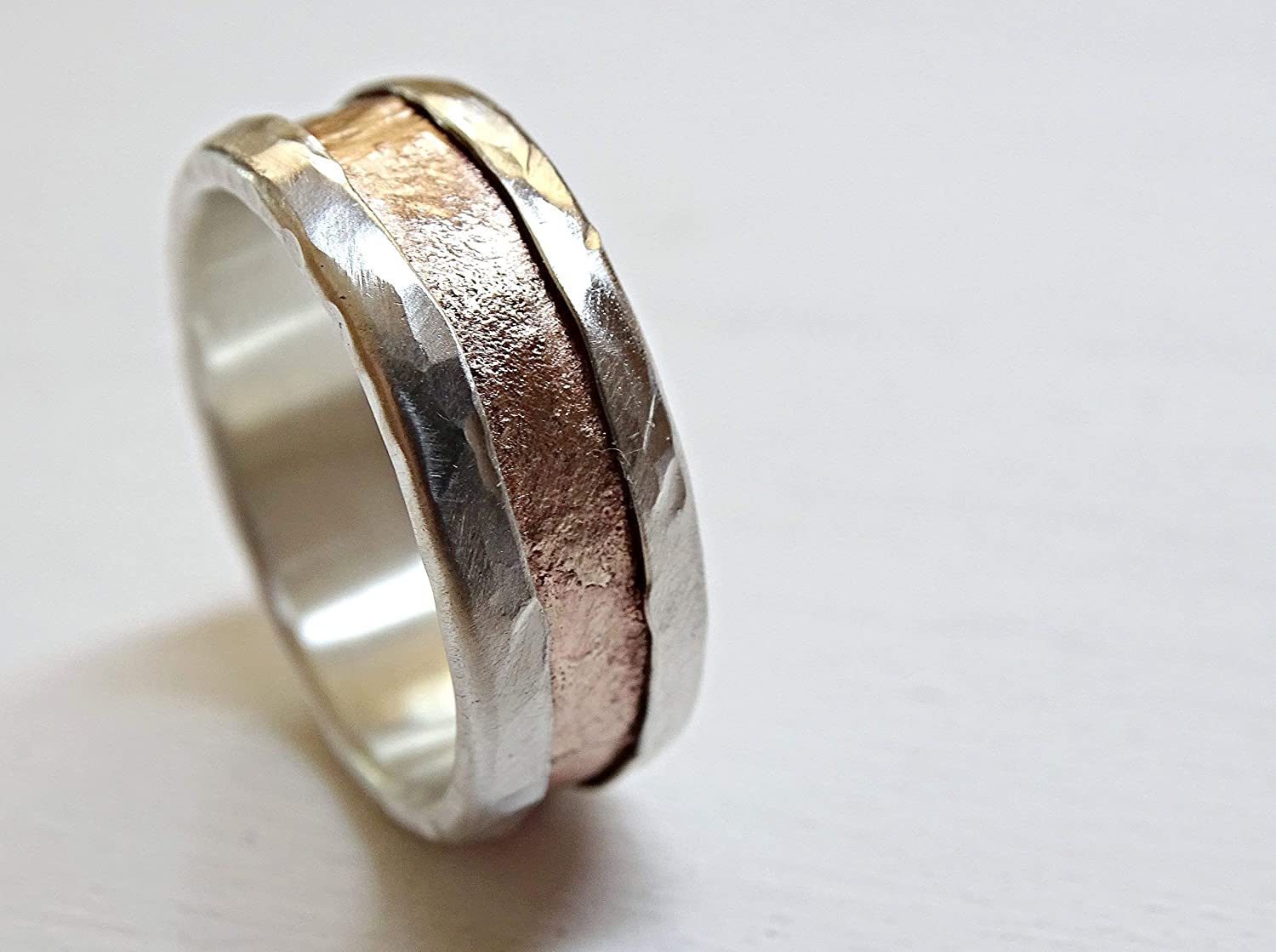 Amazon Com Mens Personalized Ring Mixed Metal Rustic Two Tone Ring Silver Bronze Mens Medieval Wedding Band Mens Engagement Ring Unique Anniversary Ring Handmade