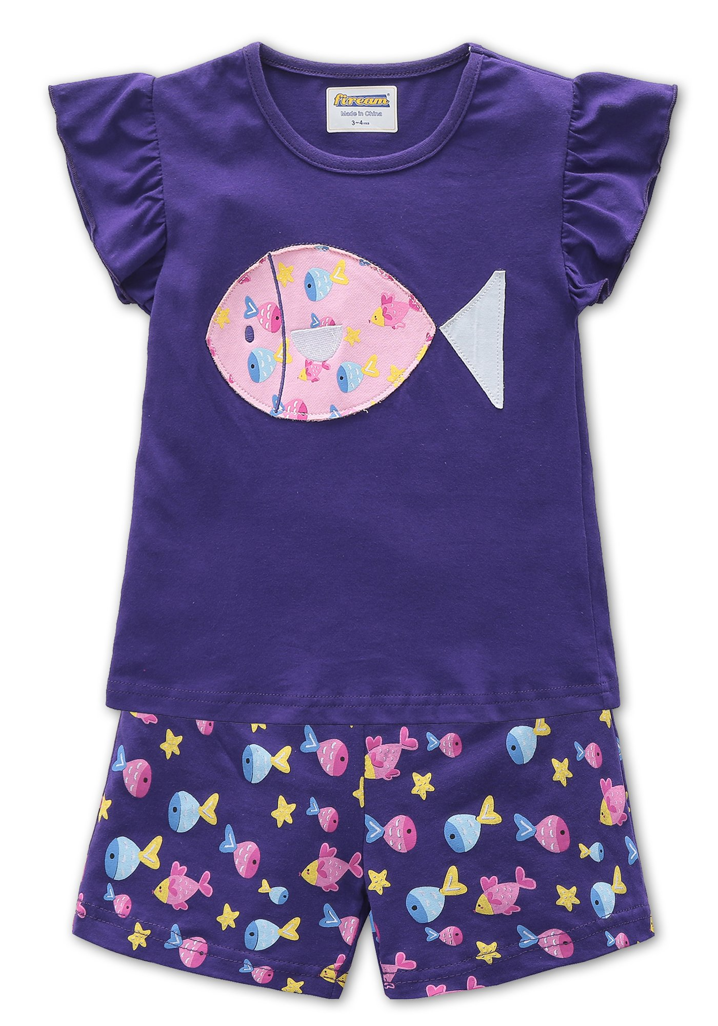 Fiream Girls Cotton Clothing Sets Summer Shortsleeve t-Shirts and Shorts 2 Pieces Sets (18004,6T/6-7YRS)