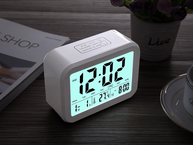 Despertador Digital, CompraFun Reloj Despertador con Alarma Luz de Noche. Blanco