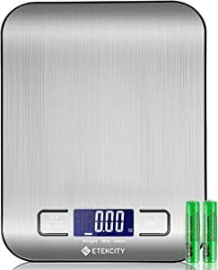 Etekcity Food Kitchen Scale, Digital Weight Grams and Oz for Cooking, Baking, Meal Prep, and Diet, Small, Stainless Steel