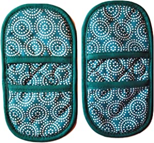 Mini Oven Mitts with Fridge Magnets, 2pk- Quilted 100% TURQUOISE Cotton Heat Resistant Fabric. Oven Gloves Protects Hands from Hot Surfaces. Ideal set for Hot Cookware,Bakeware, Microwaving,Grilling