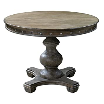 Amazoncom Solid Pine Distressed Round Table Kitchen - Solid pine round dining table