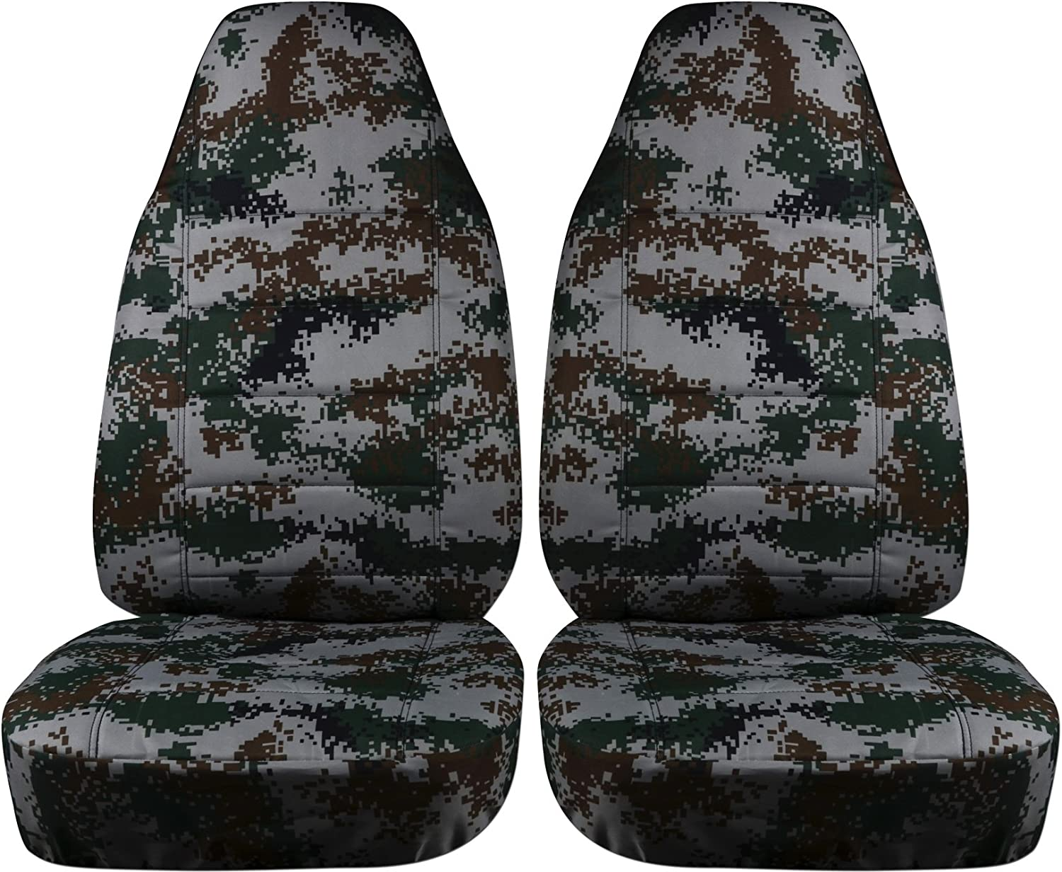 Will Make Fit Any Car//Truck//Van//SUV 22 Prints Front Camouflage Car Seat Covers: Charcoal Camo Semi-Custom Fit