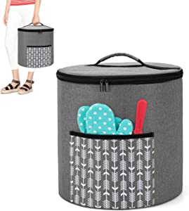 Yarwo Pressure Cooker Dust Cover with Bottom Compatible with 8 Quart Instant Pot, Portable Storage Bag with Pockets and Top Handle, Gray with Arrow (Patent Pending)