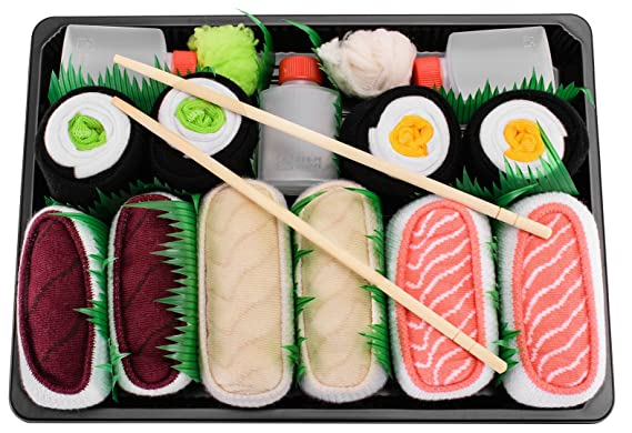 SUSHI SOCKS BOX 5 pairs Salmon Butterfish Tuna Maki FUNNY GIFT! Made in Europe L at Amazon Mens Clothing store: