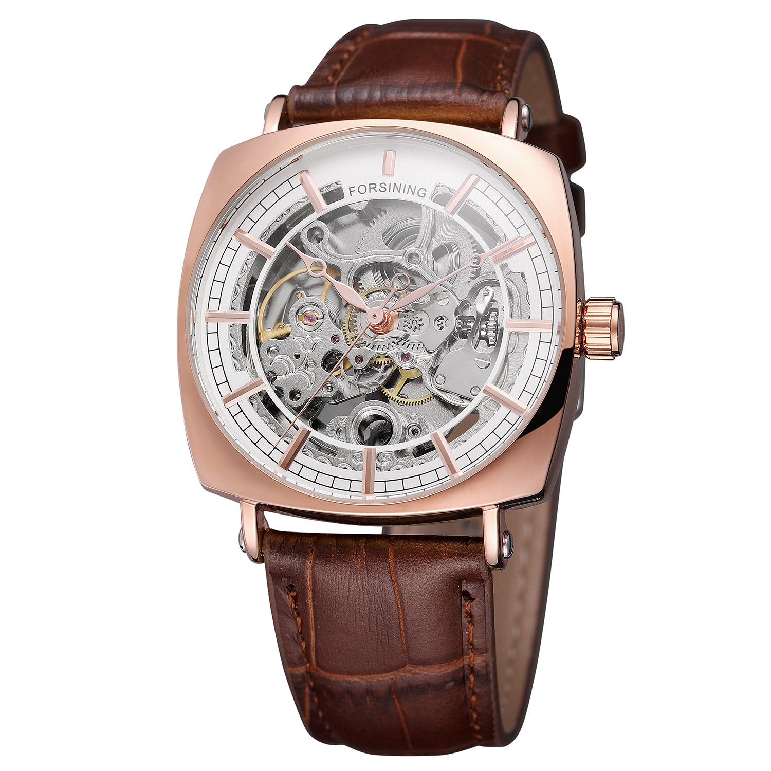 Forsining Men's Quality Automatic Self-winding Skeleton Square Watch with Genuine Leather Strap by FORSINING