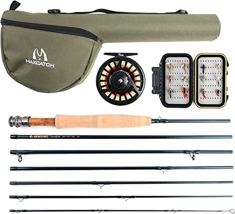 Maxcatch Travel Fly Fishing Combo 56 Weight, 7 Piece Fly Rod and Reel Outfit