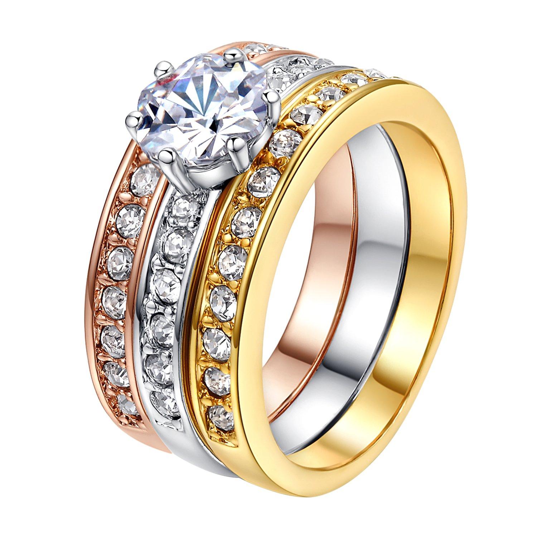Yoursfs gioielli Mirco Pave cristallo austriaco Trinity strass Wedding Band set anello placcato in oro di 3pcs Halo anelli 18K (gialla rosa bianca) Italina R139Y2-Variation