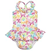 Tropical 1pc Ruffle Swimsuit w/Built-in Reusable Absorbent Swim Diaper-White Butterfly-6mo