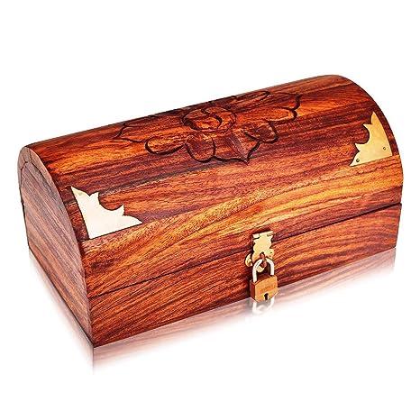 Hecho a mano caja de joyería decorativa de madera con cierre de soporte de libre caja