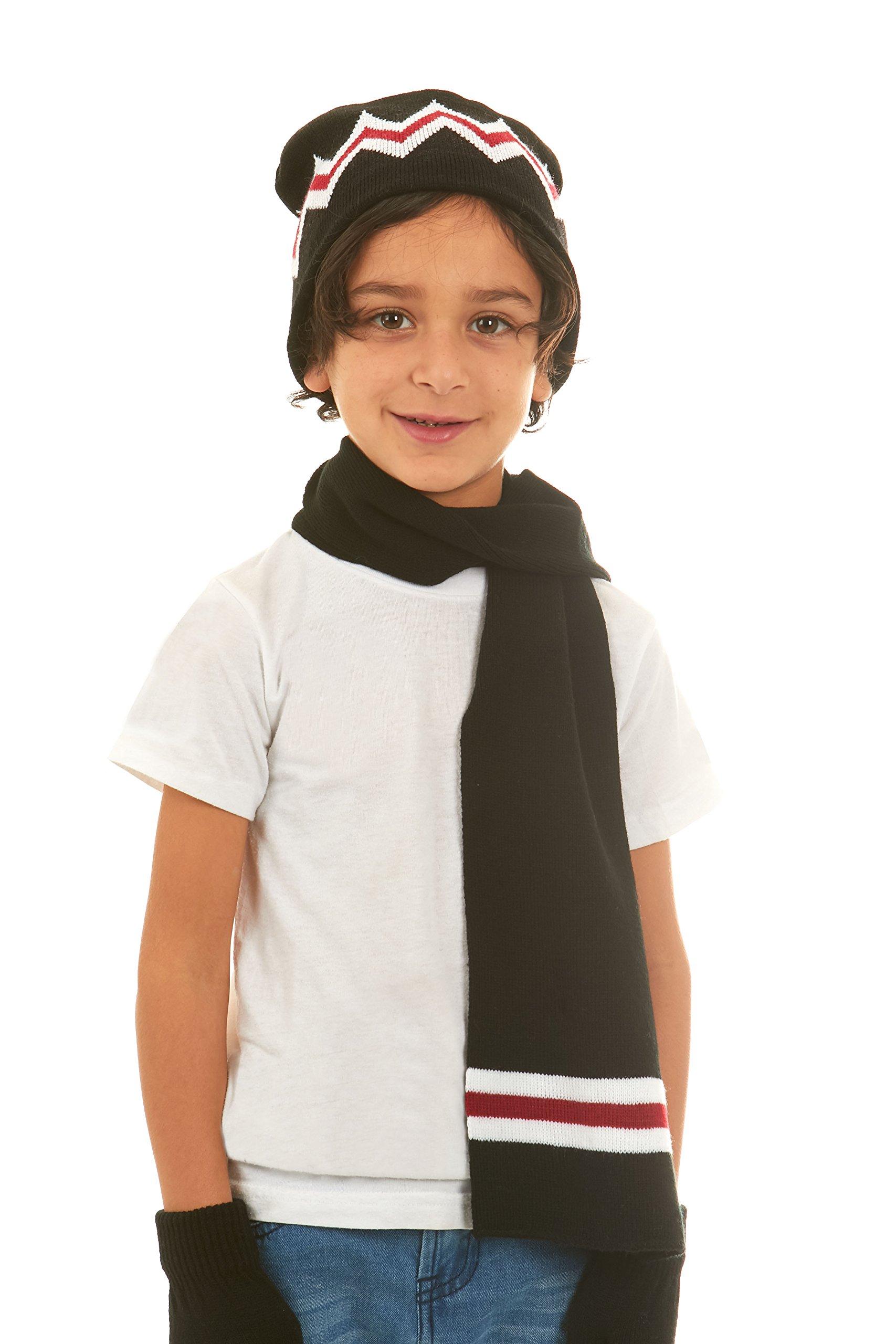 Polar Wear Boys Knit Hat, Scarf And Gloves Set - Black/Red by Polar Wear (Image #2)