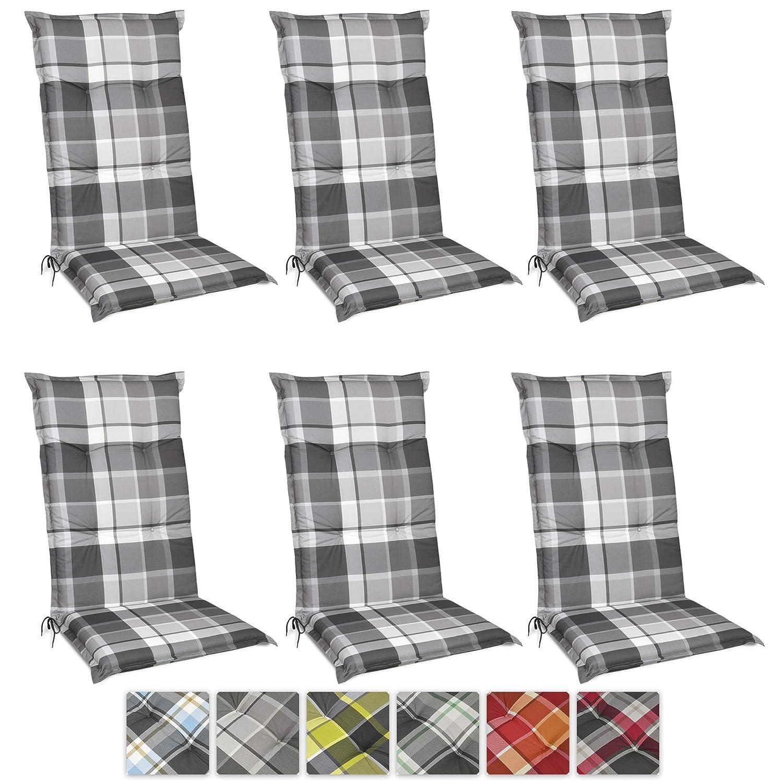 Beautissu Set di 6 Cuscini per Sdraio, poltrone e sedie da Giardino Sunny GK Grigio 120x50x6cm - Extra Comfort - Colorei Resistenti ai Raggi UV