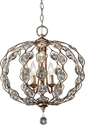 YOBO Lighting 8-Light Foyer Pendant Lighting, Antique Candle Wrought Iron Chandelier