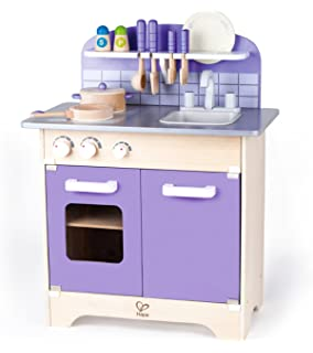 USA Toyz Hape Kitchen Playset   Exclusive Purple Wooden Play Kitchen W/ 13 Wood  Kitchen