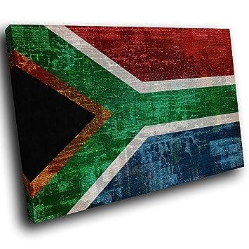 AB460A Gerahmte Leinwanddruck Bunte Wand Kunst   Retro Südafrika Flagge    Modernes Abstraktes Wohnzimmer