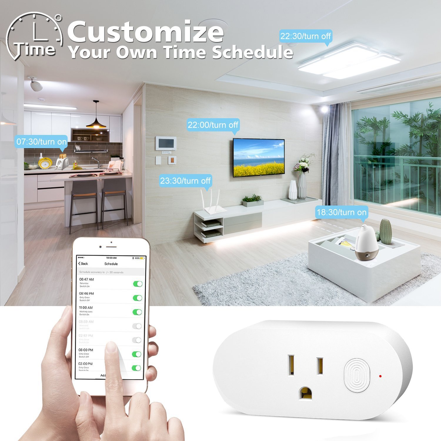 Wifi Smart Plug Compatible with Alexa – Mini Smart Outlet Timer Function Wifi Socket Amazon Echo Google Home Smart Phone Voice Controlled Light Switch Alexa Accessories Energy Monitoring 2 PACK