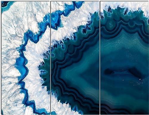 Design Art PT14377-36-28-3P Blue Brazilian Geode-Abstract Canvas Wall Art Print