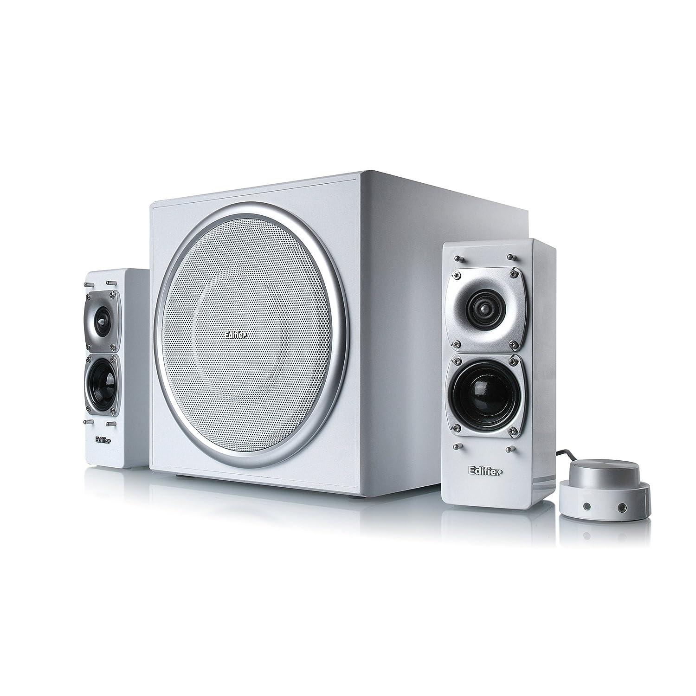 EDIFIER S330D – Sistema de Altavoces 2.1 (72 Vatios) con Mando a Distancia por Cable, Color Blanco