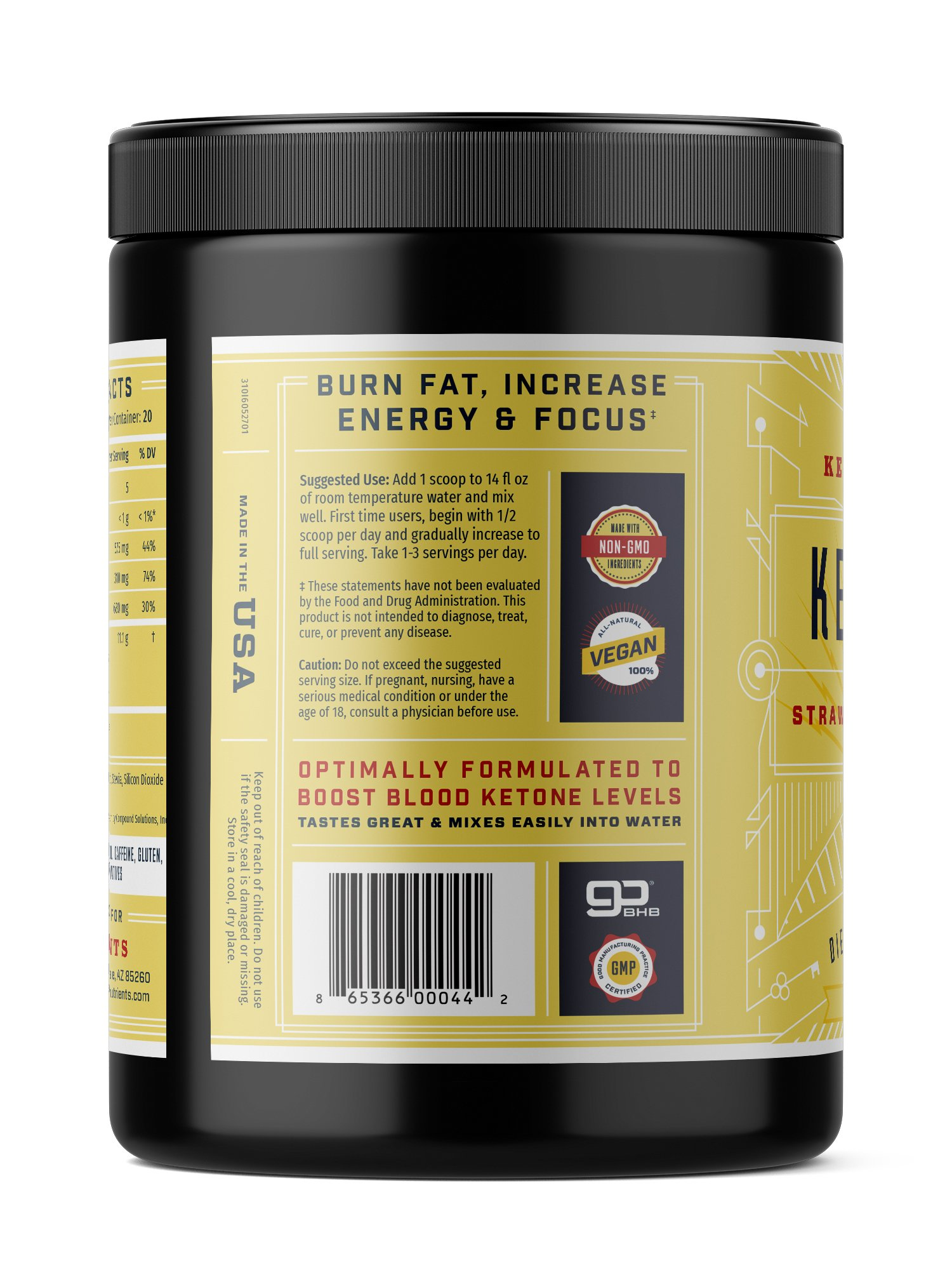 Exogenous Ketone Supplement, KEY KETO: Patented BHB Salts (Beta-Hydroxybutyrate) - Formulated for Ketosis, to Burn Fat, Increase Energy and Focus, Supports a Keto Diet. Strawberry Lemonade (278g) (20) by Key Nutrients (Image #3)