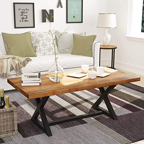 Farmhouse Wood Coffee Table Easy Assembly Nature Wood Center Table 47 Rustic Industrial Coffee Table for Living Room with X-Shaped Metal Frame