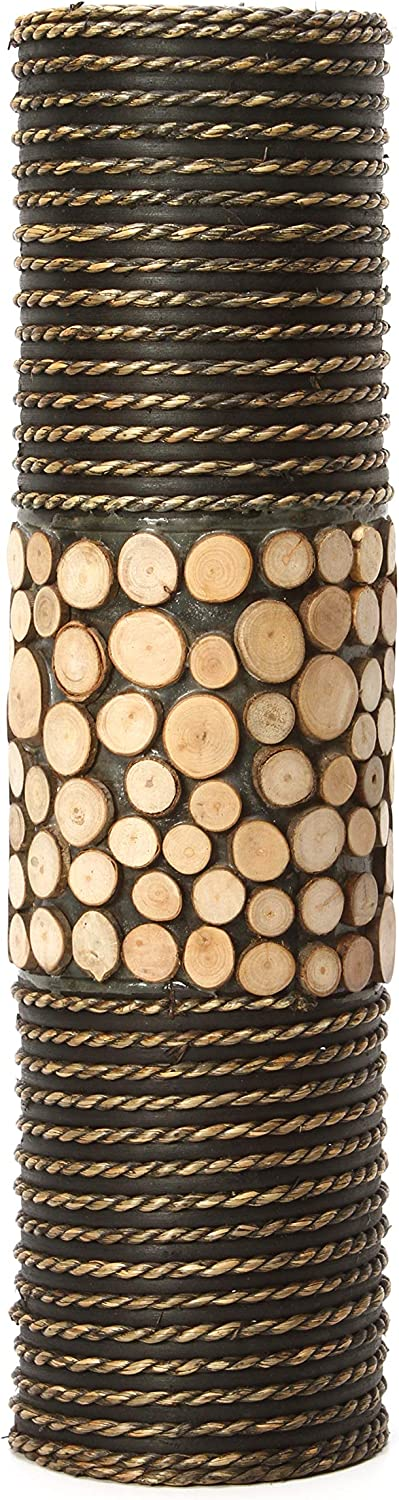 "Hosley's Natural Cylinder Tall Floor Vase 20"" High. Ideal Gift for Weddings, Home, Nautical Party, Spa, Meditation, Nautical/Natural Home decor, Spa, Reiki O6"