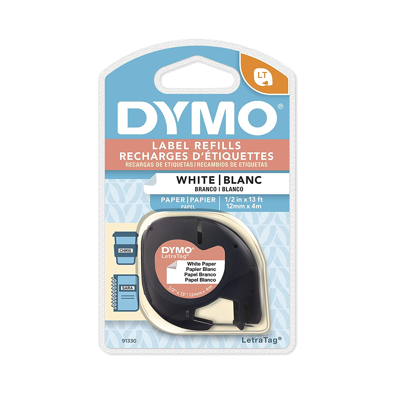 """DYMO LetraTag Labeling Tape for LetraTag Label Makers, Black print on White paper, 1/2"""" W x 13' L, 1 cassette (91330)"""