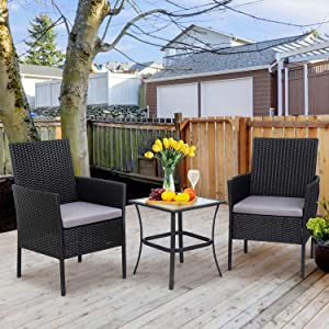 Shintenchi 3 Pieces Outdoor Patio Furniture Set, Portable Rattan Chair Wicker Furniture for Backyard Porch Lawn Garden Balcony with Cushions,Conversation Sets with Coffee Table, Gray