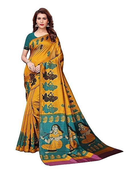 32134fb403 Mrinalika Fashion Women's Bhagalpuri Silk Saree with Unstitched Blouse  Piece ( Mustard Yellow_130C ): Amazon.in: Clothing & Accessories