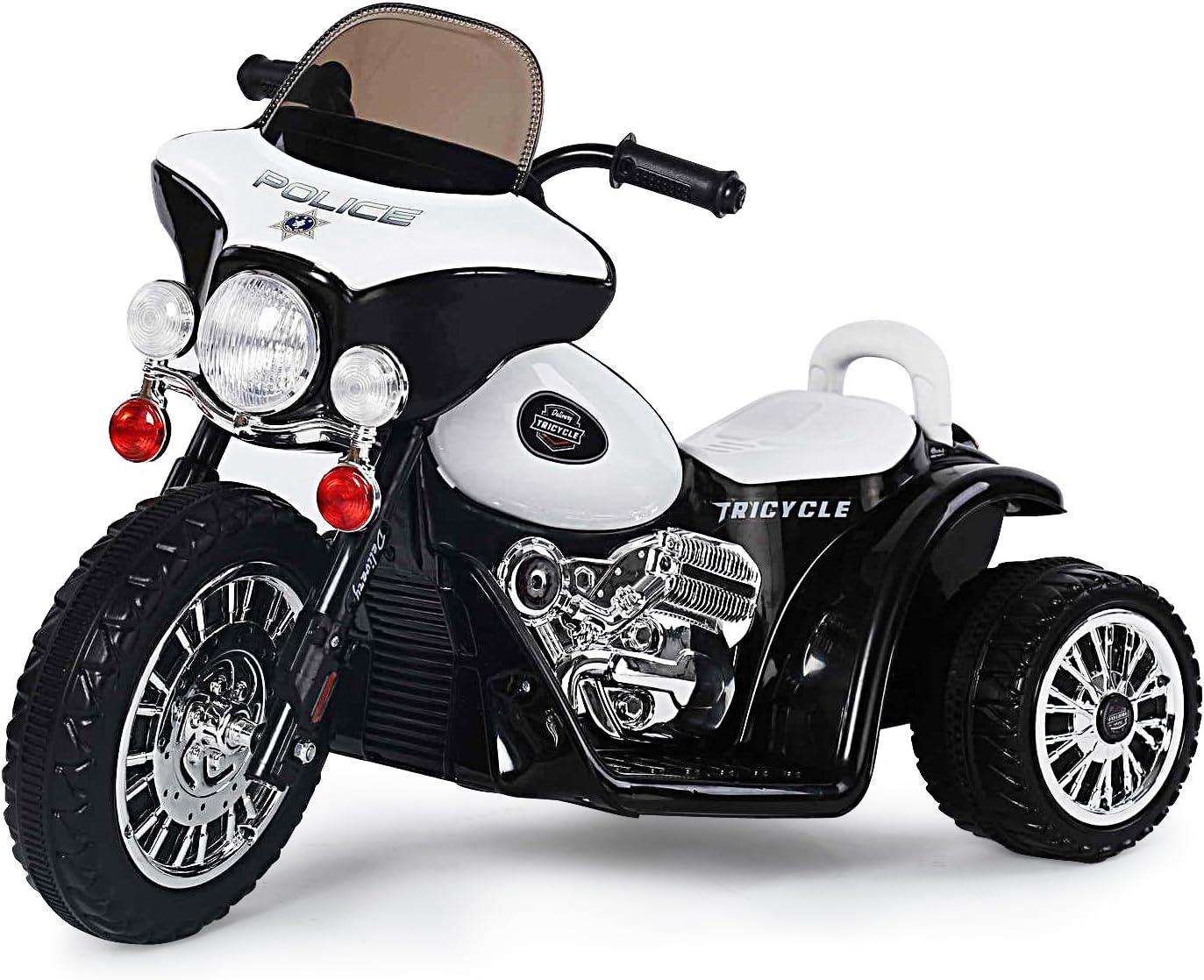 Harley infantil Moto rrad motocicleta eléctrica infantil Vehículo Triciclo infantil Moto de Policía En Blanco/Negro
