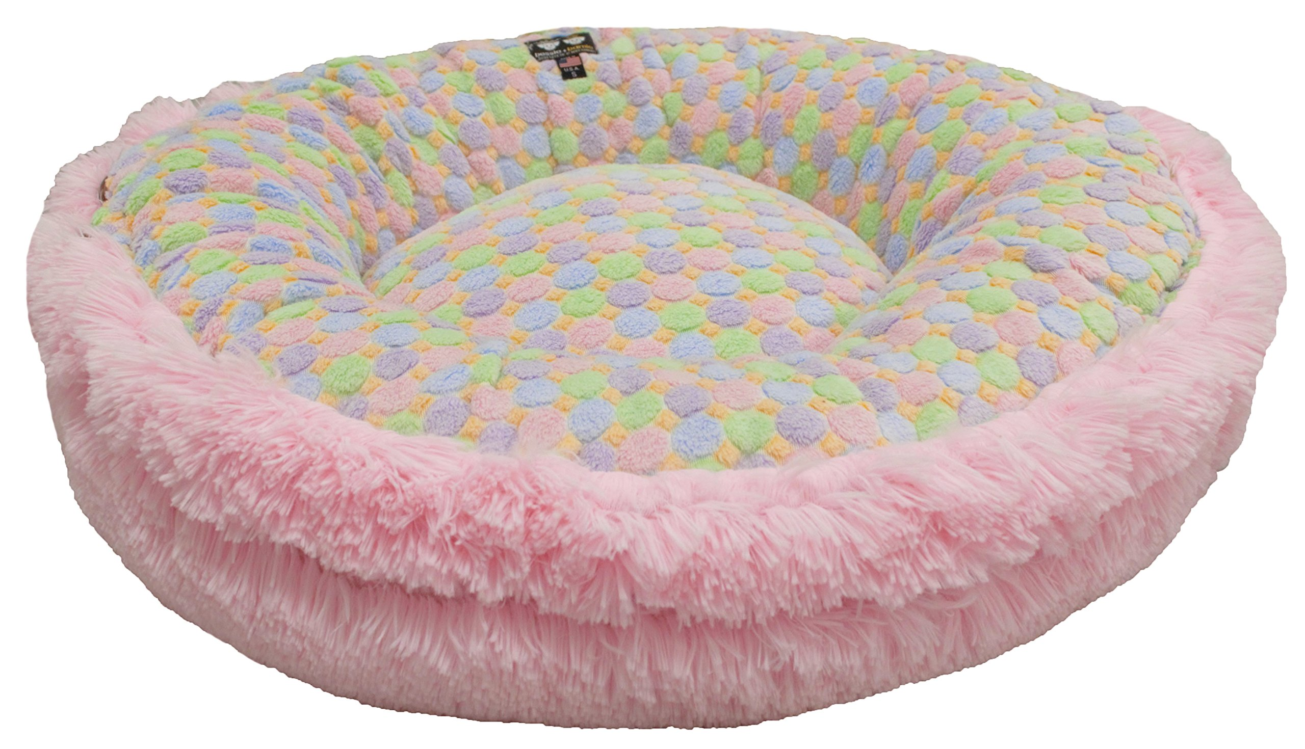 BESSIE AND BARNIE Ice Cream/Bubble Gum Luxury Shag Ultra Plush Faux Fur Bagelette Pet/Dog Bed (Multiple Sizes) by BESSIE AND BARNIE (Image #2)