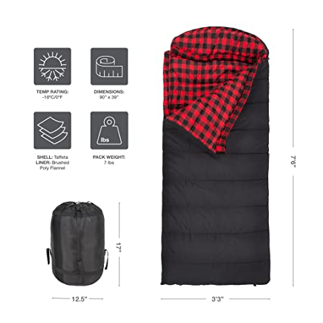 Teton Sports Celsius XXL - Saco de Dormir Doble de Franela (-18 ºC / 0 ºF, 228,5 x 99 cm) Negro Negro Talla:fermeture éclair Gauche: Amazon.es: Deportes y ...