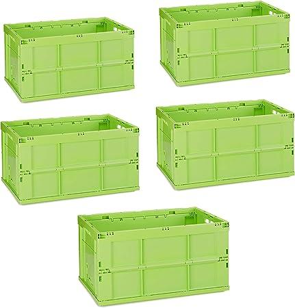 Relaxdays Pack de 5 Cajas de Almacenaje Plegables 60 L, Plástico, Verde, 31.5 x 58.5 x 40 cm: Amazon.es: Hogar