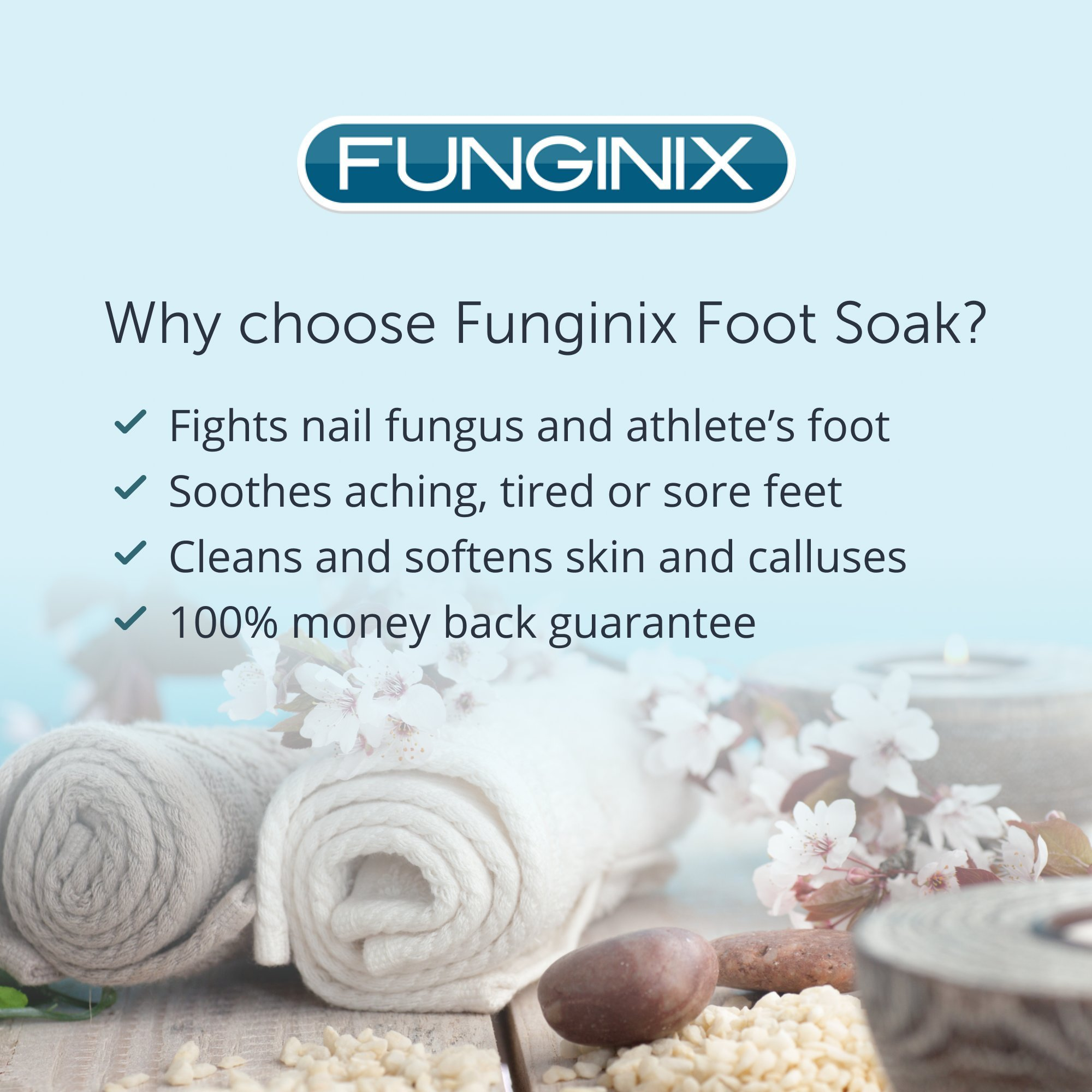 Funginix Premium Anti Fungal Foot Soak Nail Fungus Treatment with Tea Tree Oil, Himalayan Sea Salt, and Essential Oils - Treats Toenail Fungus, Athletes Foot, and Foot Odor - Foot Care for Sore Feet by Funginix (Image #5)