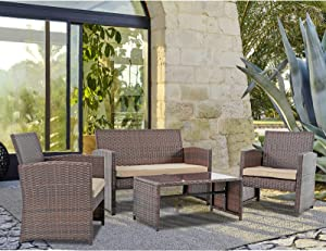 Patiorama 4 Pieces Outdoor Patio Furniture Sets Garden Rattan Chair Wicker Set, Poolside Lawn Chairs with Tempered Glass Coffee Table Porch Furniture (Brown)