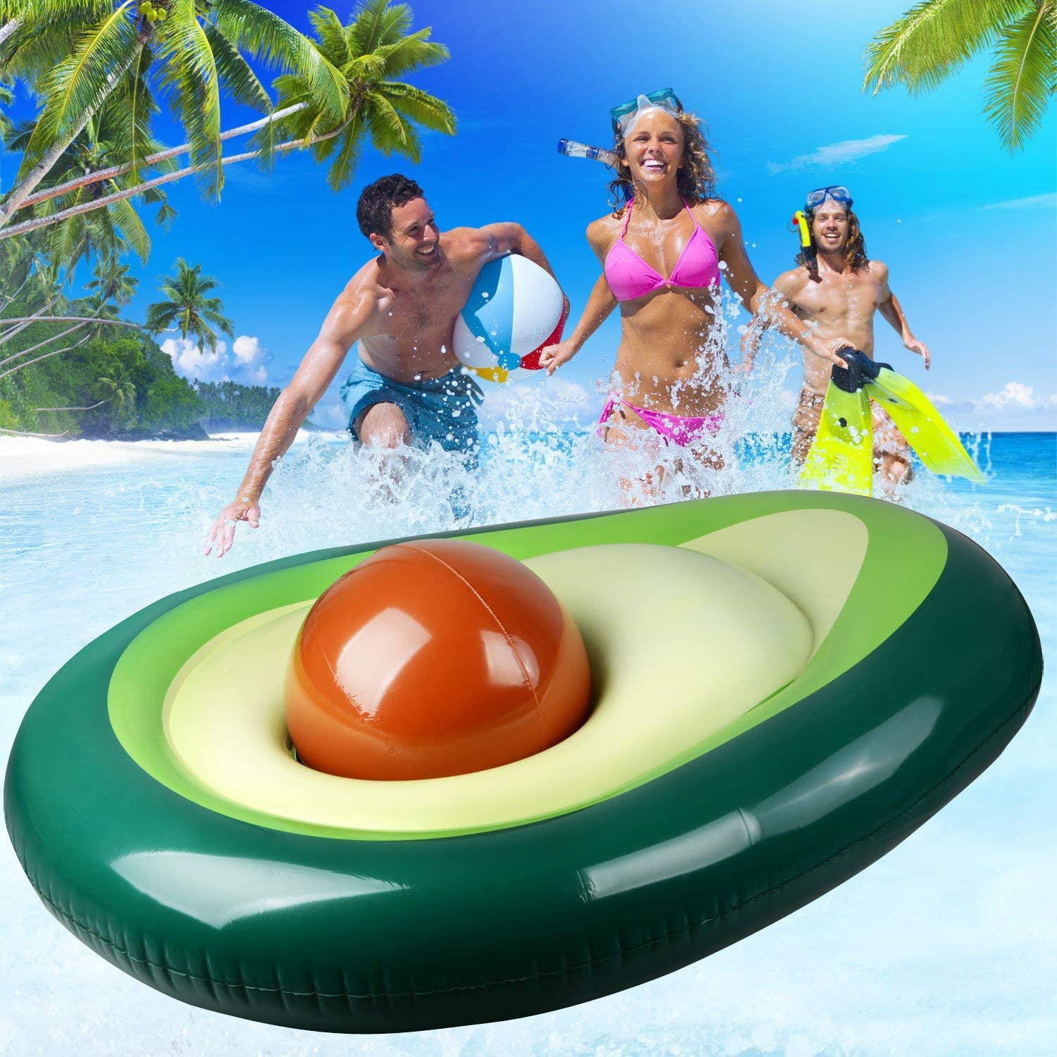 Zoostliss Inflatable Avocado Pool Float - Floatie with Ball Water Fun Large Blow Up Summer Beach Swimming Raft Kids Adults
