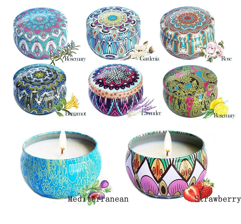 Regalo da Aromaterapia per la Mamma//Moglie Set Candele da 8 YZCX Candele Profumate Cera di Soia Perfetti per Bagno Yoga Natale Anniversario San Valentino