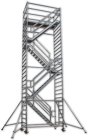 A&M de las escaleras de la torre Eiffel de altura de trabajo de 14,0 M en contra de guías de aluminio, con ruedas, ruedas del andamio/Torres de los Rolling/huida de escalera/plataforma de