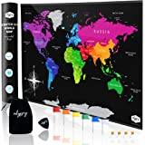 Large Premium Full Colour Scratch Off World Map (90cm x 55cm) Easy Scratch Technology, With Map Pins, Scratcher Accessories & Scratchable Detailed US States