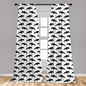 "Lunarable Raven Curtains, Ink Drawn Style Black Birds Pattern of Wisdom Gothic Culture Inspiration, Window Treatments 2 Panel Set for Living Room Bedroom Decor, 56"" x 63"", White Charcoal"
