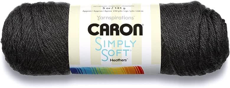 Caron Simply Soft Heathers Yarn, 5 oz, Charcoal Heather, 1 Ball