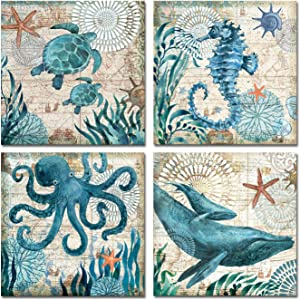 Ocean Artwork Wall Decor Canvas Art Prints Set of 4 Home Decor Watercolor Sea World Animal Turtle Seahorse Whale Octopus Pictures Modern Artwork Stretched and Framed Ready to Hang for Bathroom