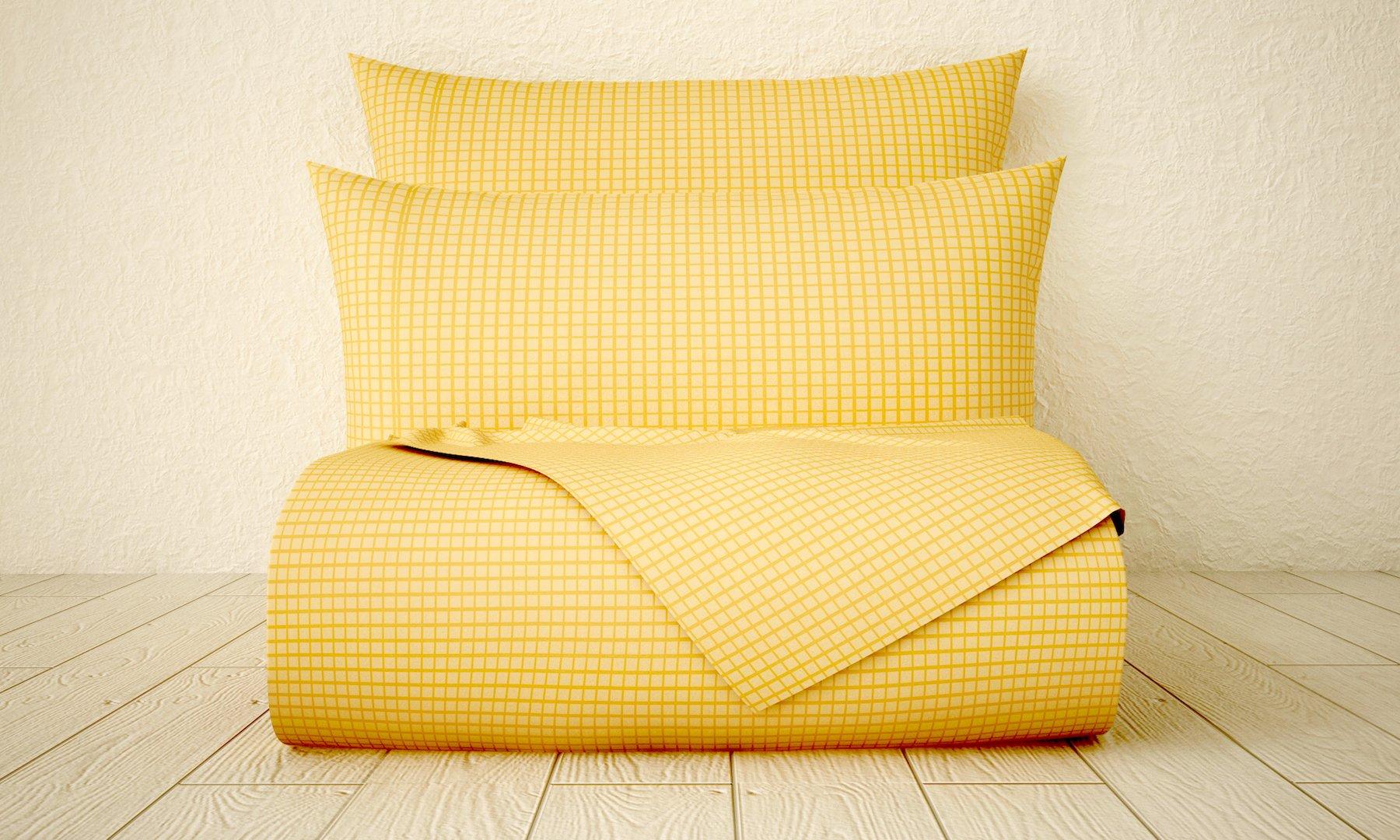 Xara Luxury 33254 4 Piece Window Pane 1800 Series Printed Cotton Essential Embossed Tone on Tone Bed Sheet Set, Queen, Beige