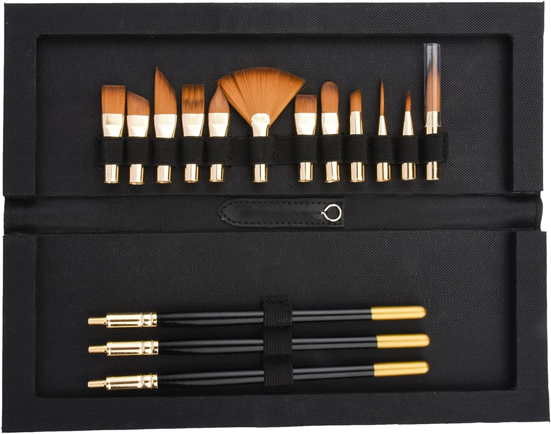 Artist Paintbrush Set 36pc Drawing Painting Multi Colour Paint Flat Tip Brushes