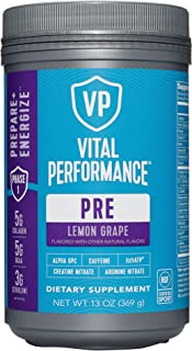 product image for Low Sugar PreWorkout Powder - Vital Performance Lemon Grape - NSF for Sport Certified, 140mg Caffeine, No Artificial Sweeteners, 1.5g Creatine Nitrate, 1.5g Arginine Nitrate