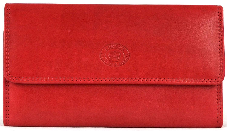 London Leather Señoras Gran Matinee monedero de piel de napa con parte trasera y interior con cremallera (azul marino/marrón oscuro/rojo/rosa/negro/lila/rojo/turquesa oscuro/Mid marrón)
