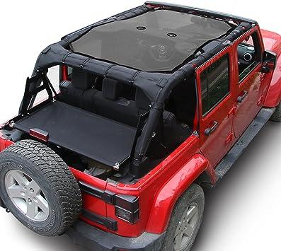 For Jeep Wrangler Black Sunshade UV Protection Mesh Soft Top Cover JK 2007-2017